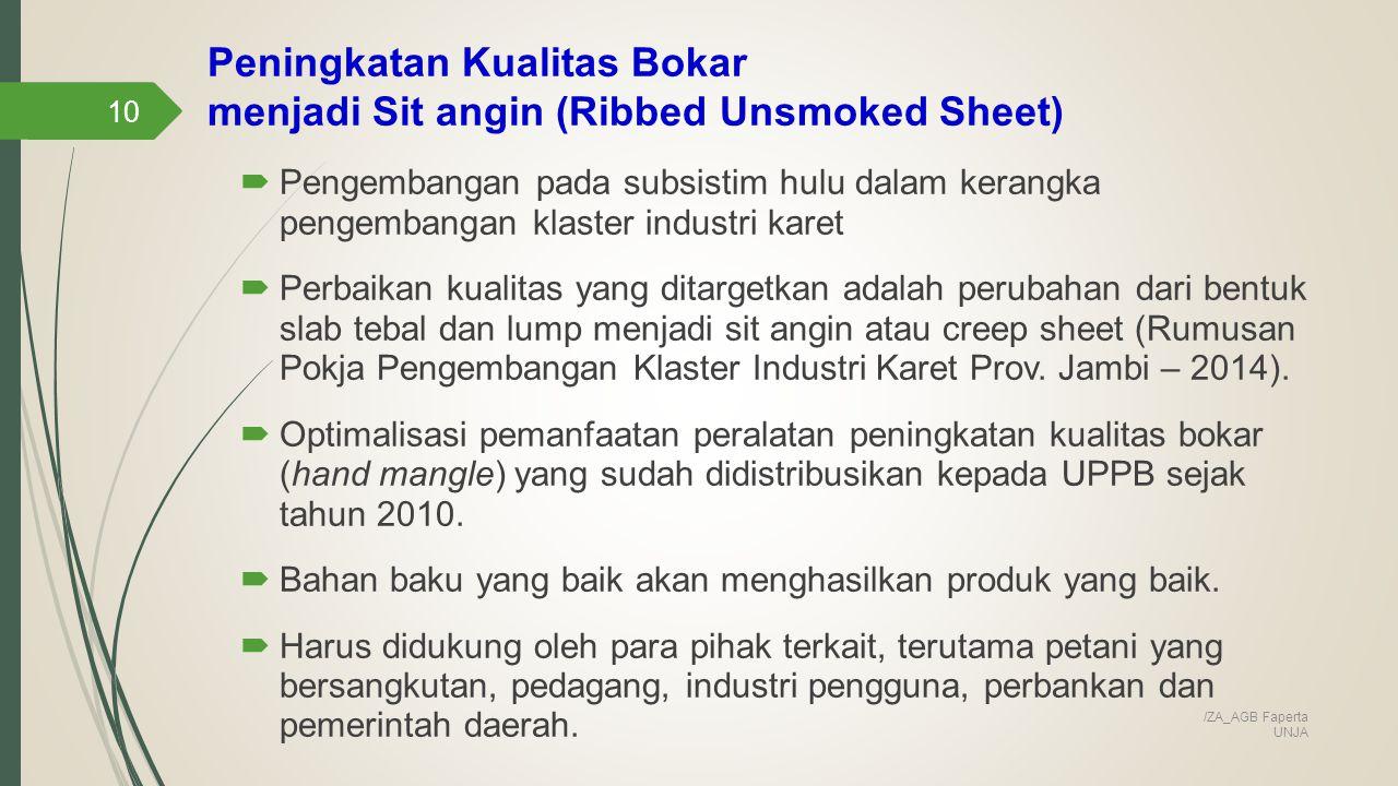 Peningkatan Kualitas Bokar menjadi Sit angin (Ribbed Unsmoked Sheet)