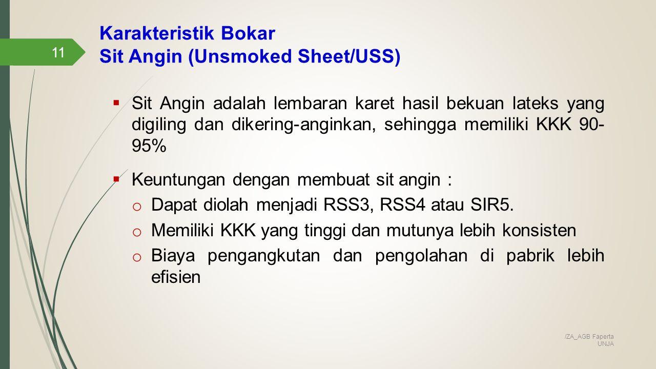 Karakteristik Bokar Sit Angin (Unsmoked Sheet/USS)
