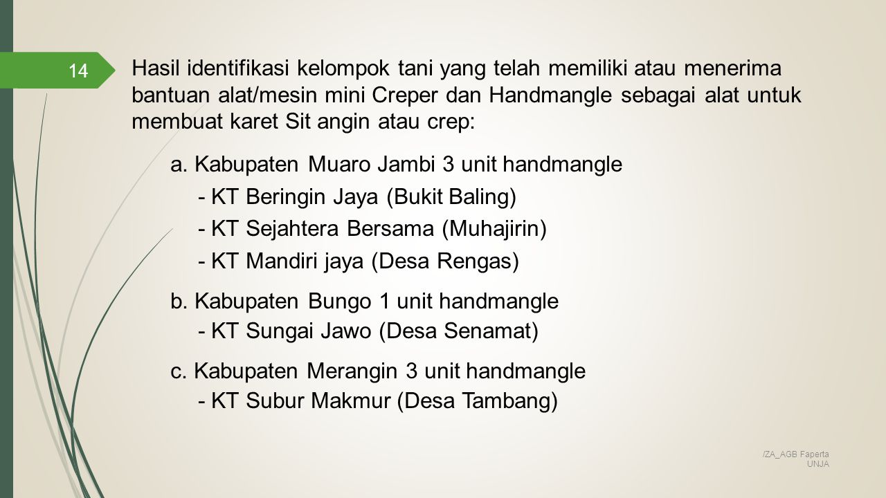 a. Kabupaten Muaro Jambi 3 unit handmangle