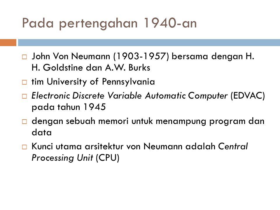 Pada pertengahan 1940-an John Von Neumann (1903-1957) bersama dengan H. H. Goldstine dan A.W. Burks.