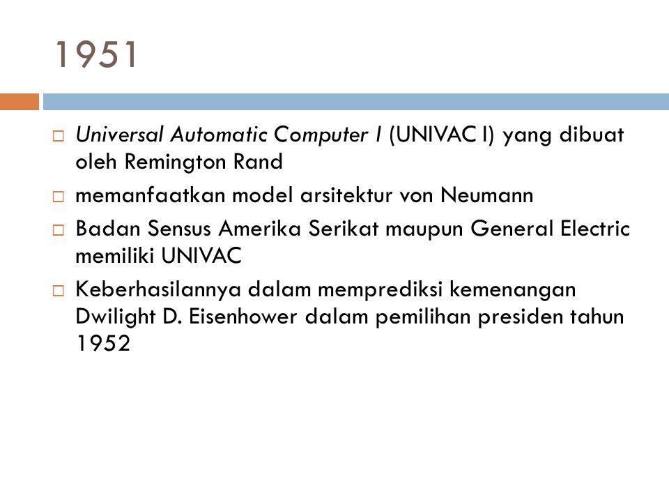 1951 Universal Automatic Computer I (UNIVAC I) yang dibuat oleh Remington Rand. memanfaatkan model arsitektur von Neumann.