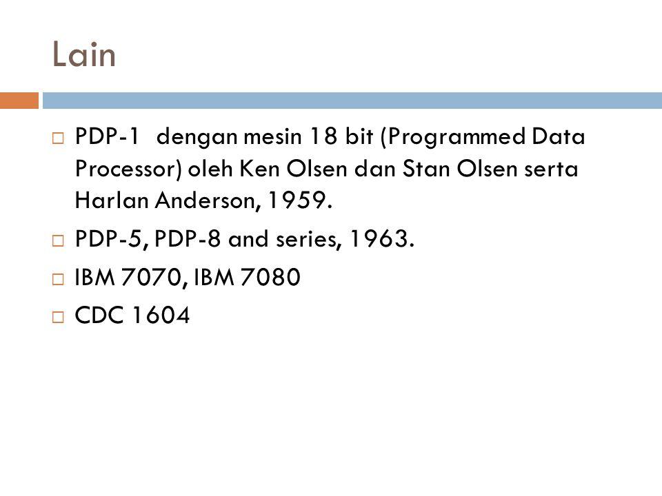 Lain PDP-1 dengan mesin 18 bit (Programmed Data Processor) oleh Ken Olsen dan Stan Olsen serta Harlan Anderson, 1959.
