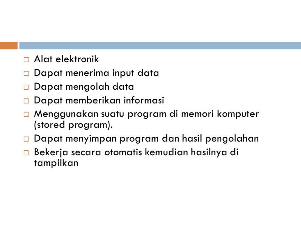 Alat elektronik Dapat menerima input data. Dapat mengolah data. Dapat memberikan informasi.