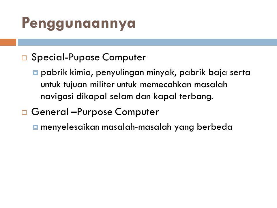 Penggunaannya Special-Pupose Computer General –Purpose Computer