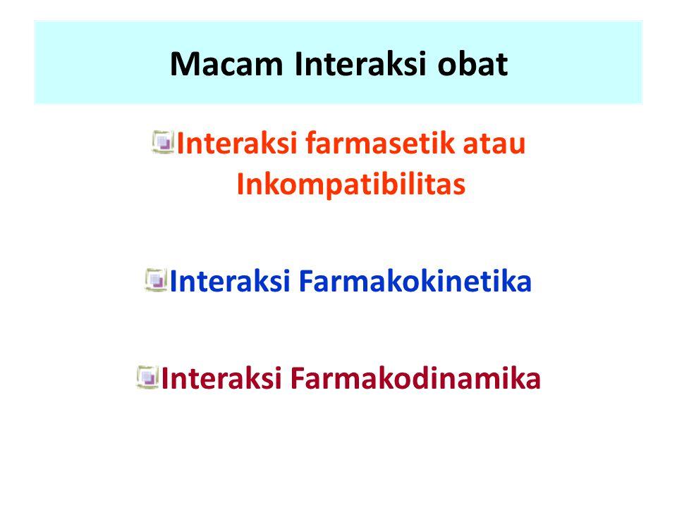 Macam Interaksi obat Interaksi farmasetik atau Inkompatibilitas