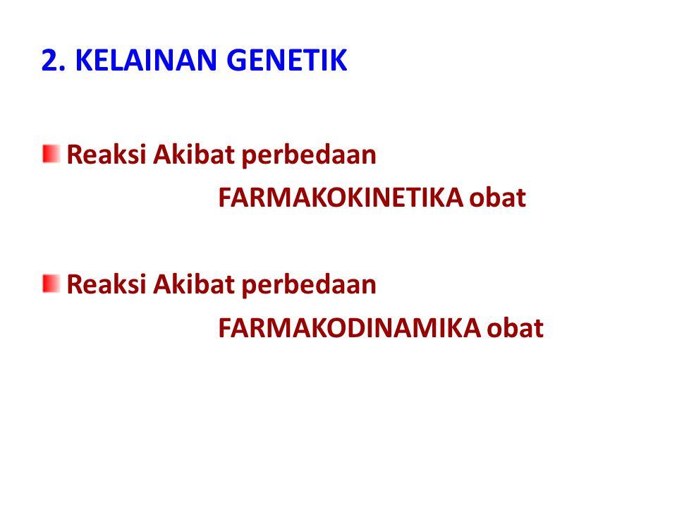 2. KELAINAN GENETIK Reaksi Akibat perbedaan FARMAKOKINETIKA obat