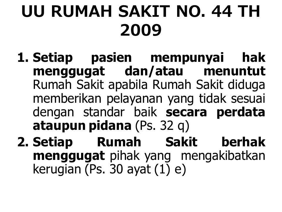 UU RUMAH SAKIT NO. 44 TH 2009