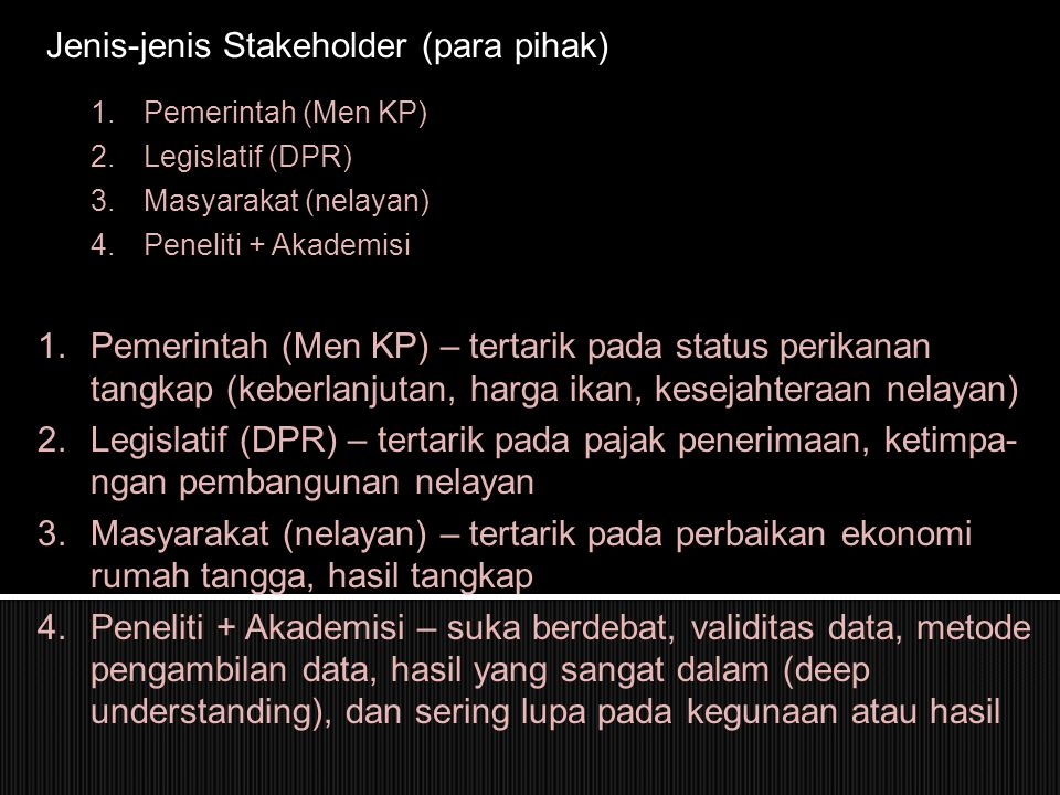 Jenis-jenis Stakeholder (para pihak)