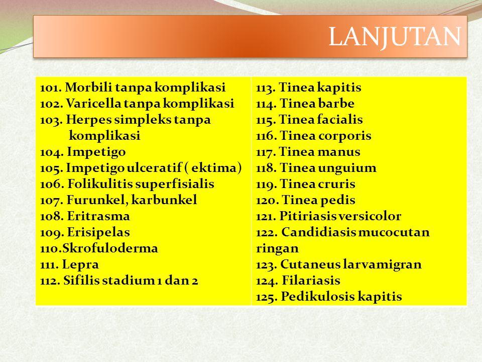 LANJUTAN 101. Morbili tanpa komplikasi 102. Varicella tanpa komplikasi 103. Herpes simpleks tanpa.