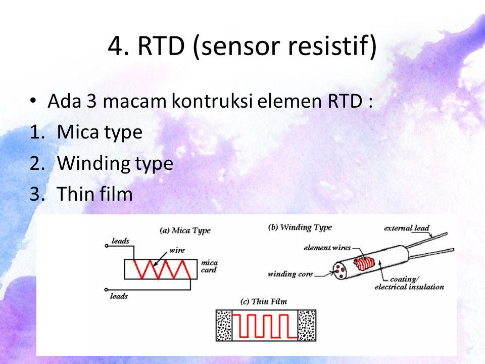 4. RTD (sensor resistif) Ada 3 macam kontruksi elemen RTD : Mica type
