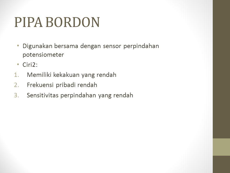 PIPA BORDON Digunakan bersama dengan sensor perpindahan potensiometer