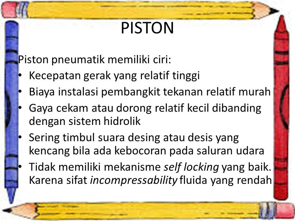 PISTON Piston pneumatik memiliki ciri: