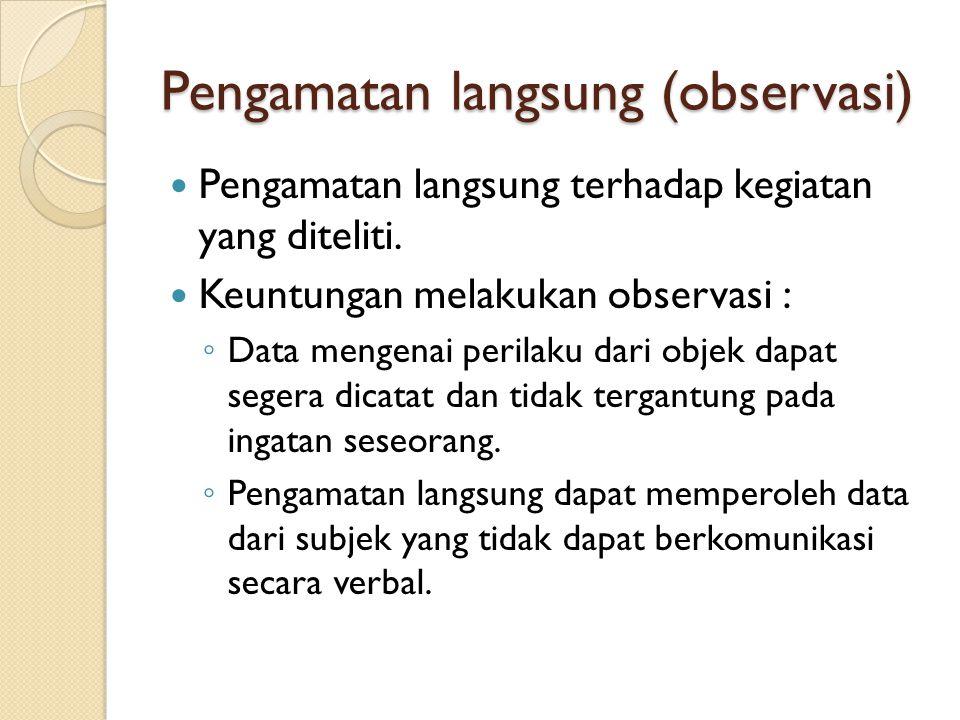 Pengamatan langsung (observasi)