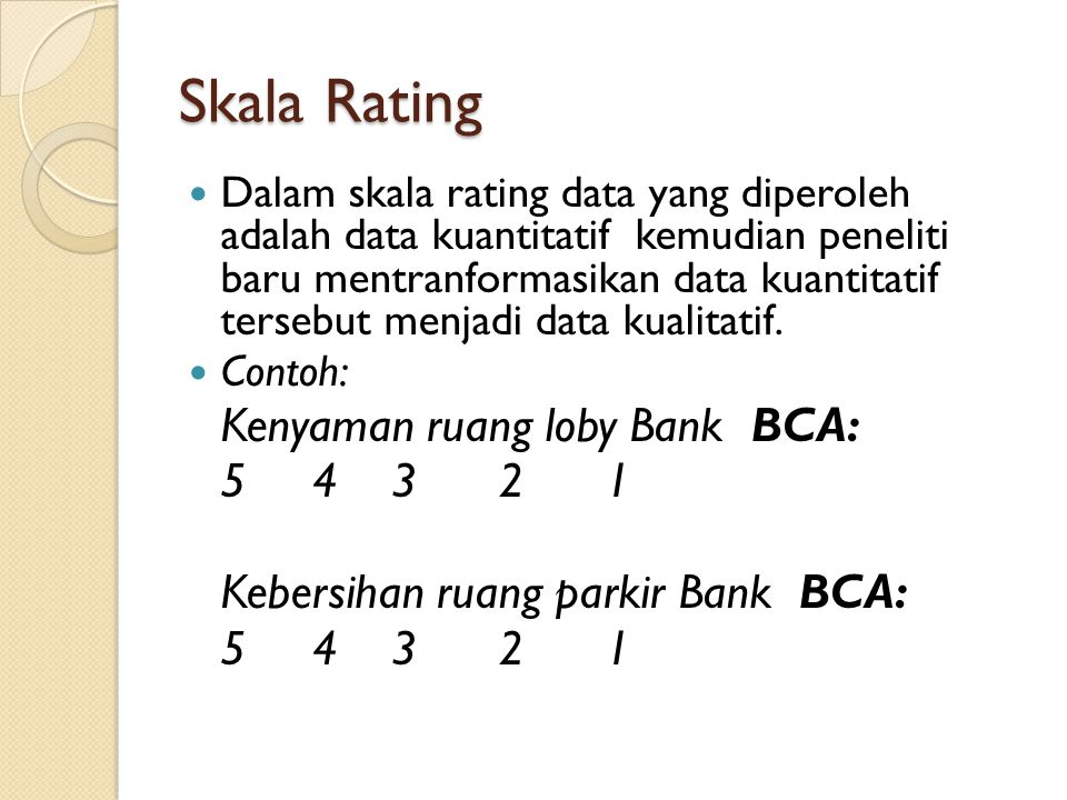 Skala Rating Kenyaman ruang loby Bank BCA: 5 4 3 2 1