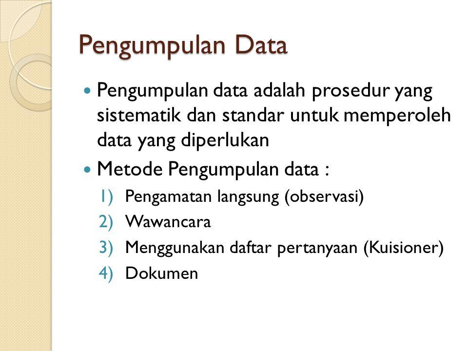 Pengumpulan Data Pengumpulan data adalah prosedur yang sistematik dan standar untuk memperoleh data yang diperlukan.