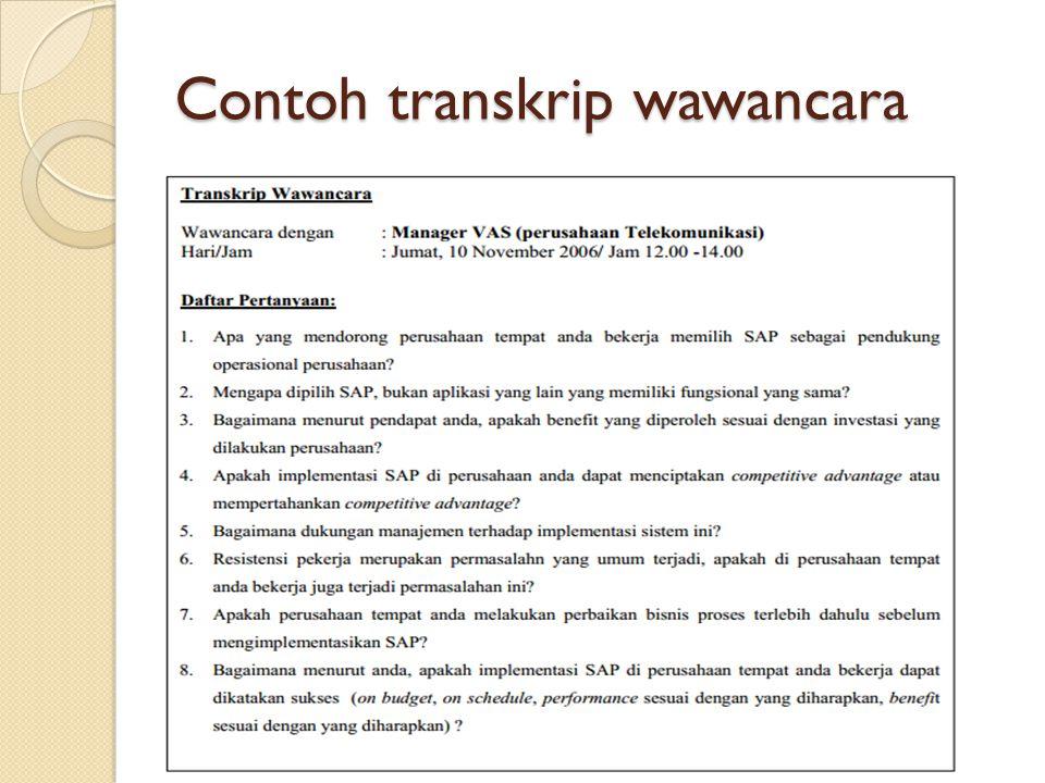Contoh transkrip wawancara