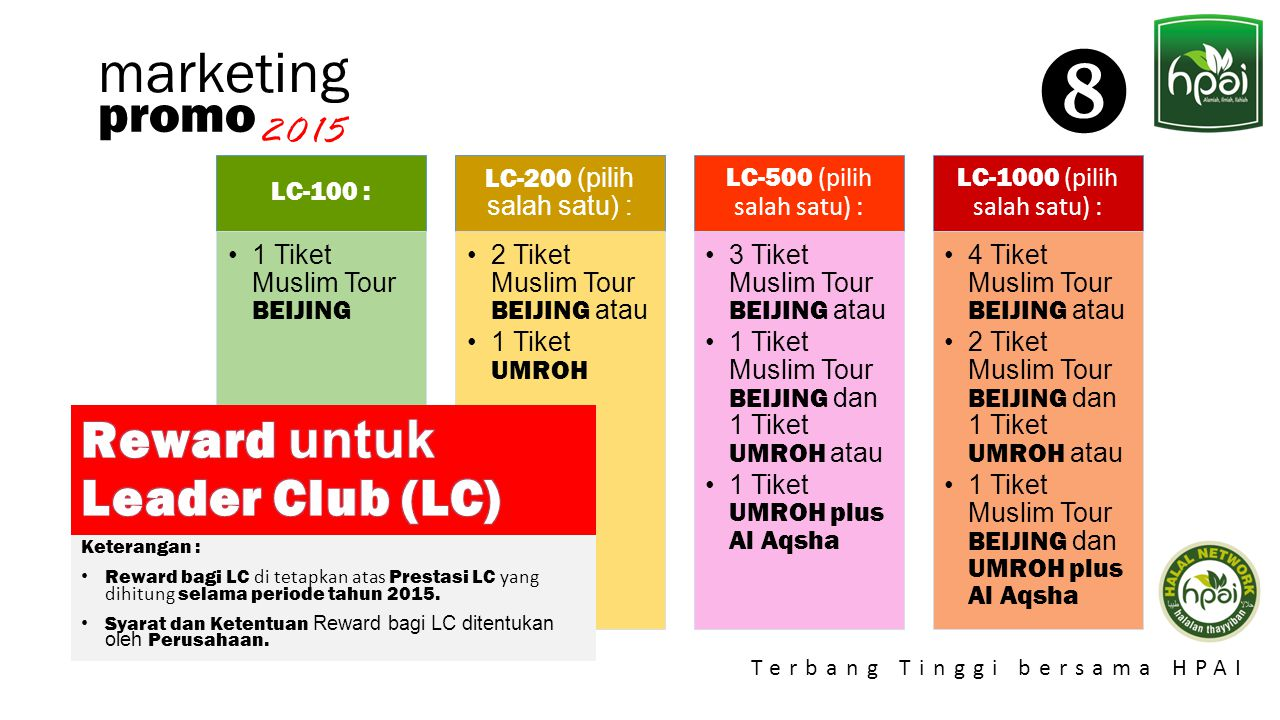  marketing promo Reward untuk Leader Club (LC) 2015 LC-100 :