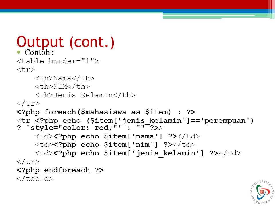 Output (cont.) Contoh : <table border= 1 > <tr>