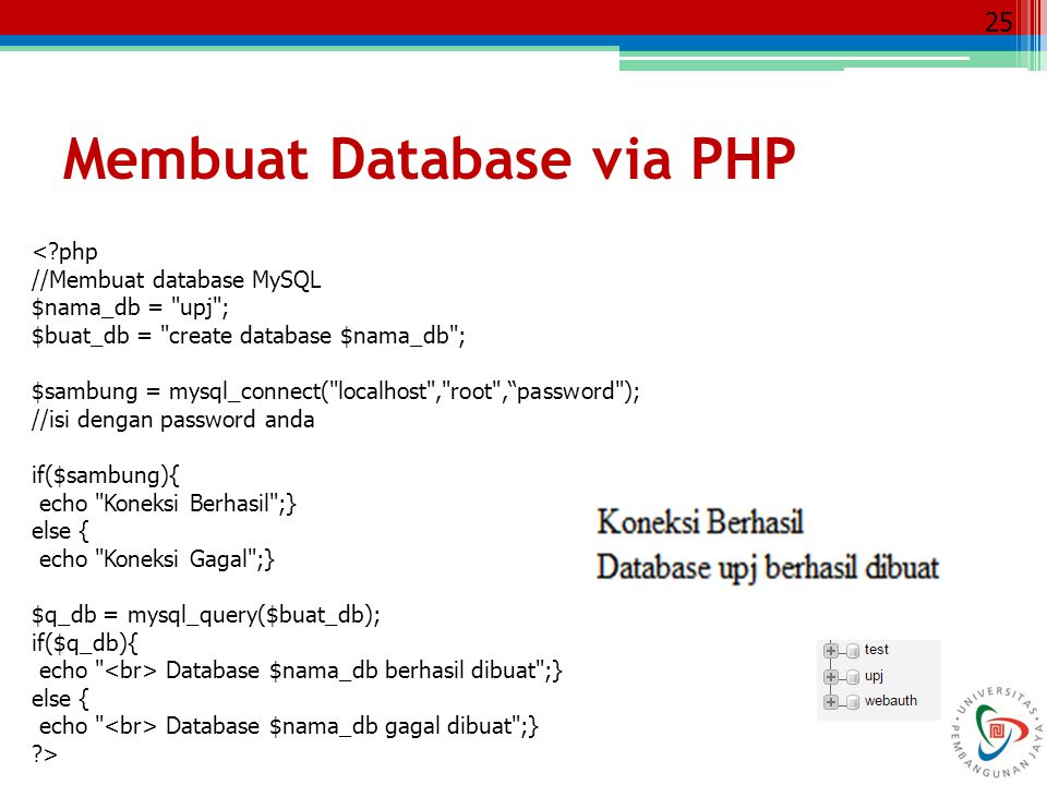 Membuat Database via PHP