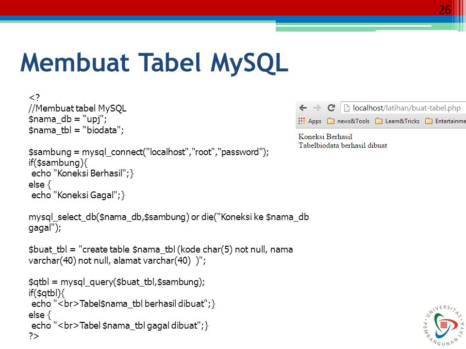 Membuat Tabel MySQL < //Membuat tabel MySQL $nama_db = upj ;