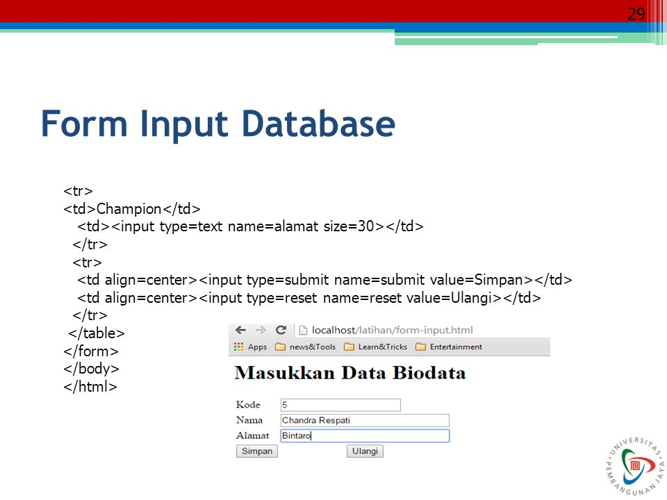 Form Input Database <tr> <td>Champion</td>