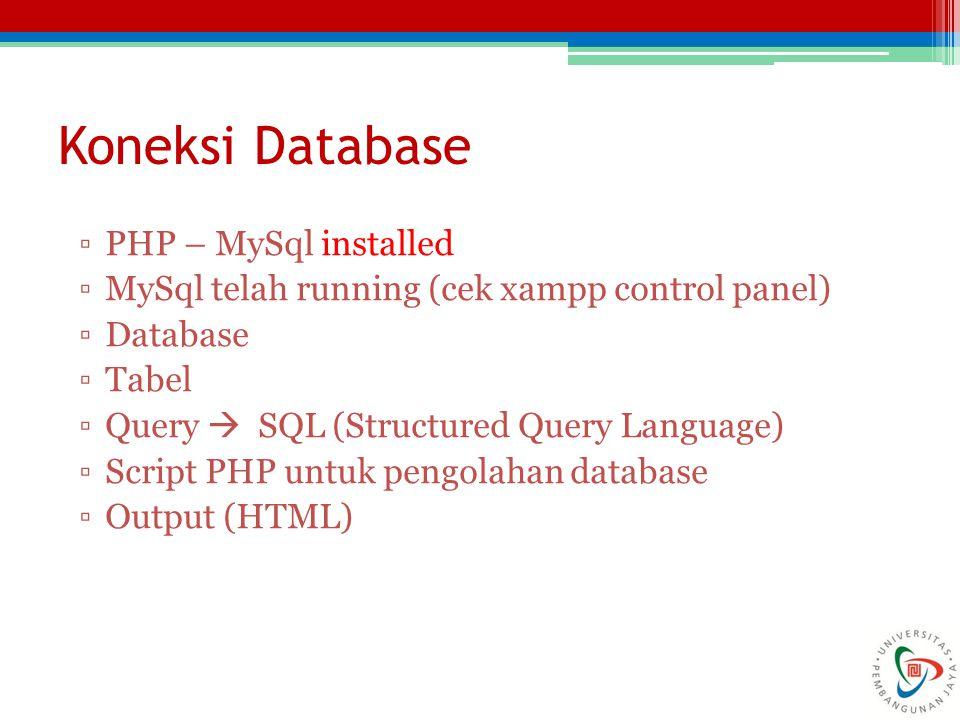 Koneksi Database PHP – MySql installed