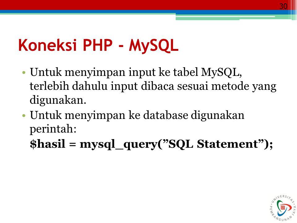 Koneksi PHP - MySQL Untuk menyimpan input ke tabel MySQL, terlebih dahulu input dibaca sesuai metode yang digunakan.