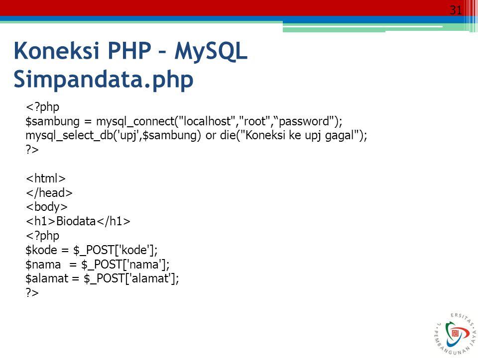 Koneksi PHP – MySQL Simpandata.php