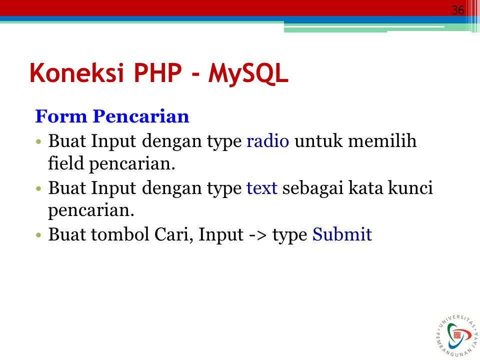 Koneksi PHP - MySQL Form Pencarian