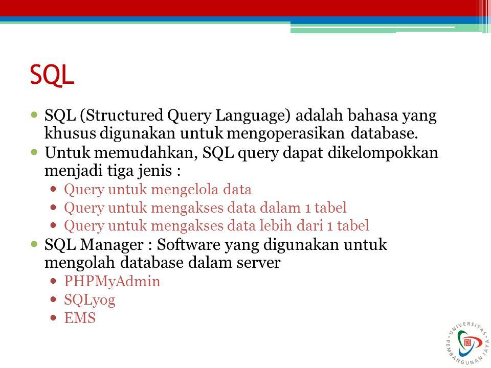 SQL SQL (Structured Query Language) adalah bahasa yang khusus digunakan untuk mengoperasikan database.