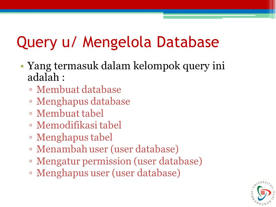 Query u/ Mengelola Database