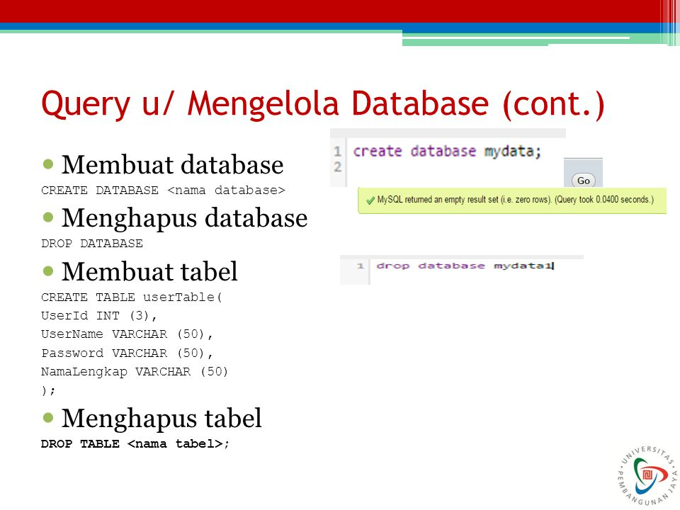 Query u/ Mengelola Database (cont.)