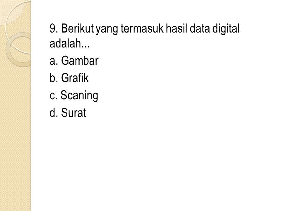9. Berikut yang termasuk hasil data digital adalah. a. Gambar b
