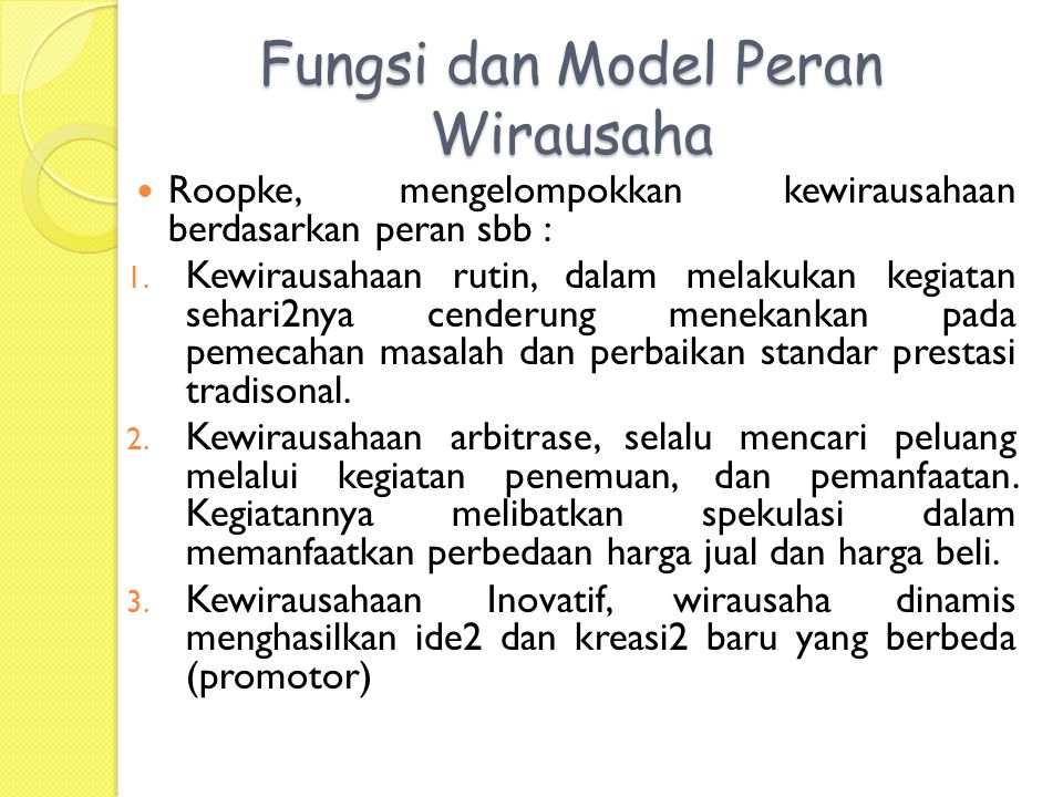 Fungsi dan Model Peran Wirausaha
