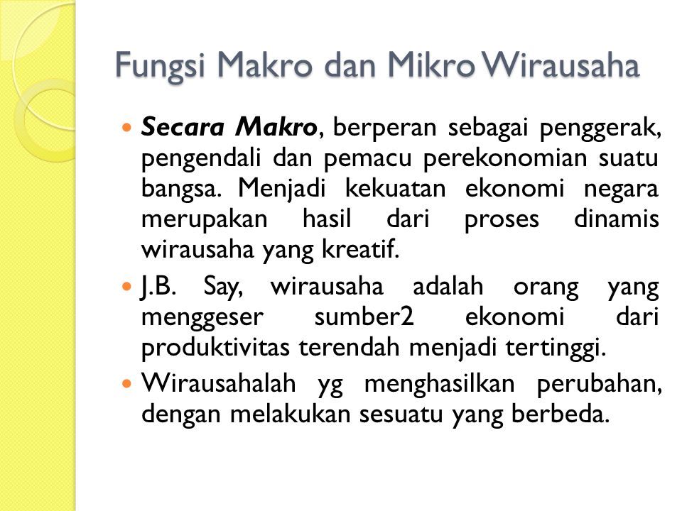 Fungsi Makro dan Mikro Wirausaha