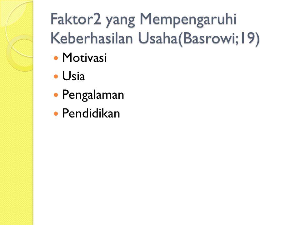 Faktor2 yang Mempengaruhi Keberhasilan Usaha(Basrowi;19)