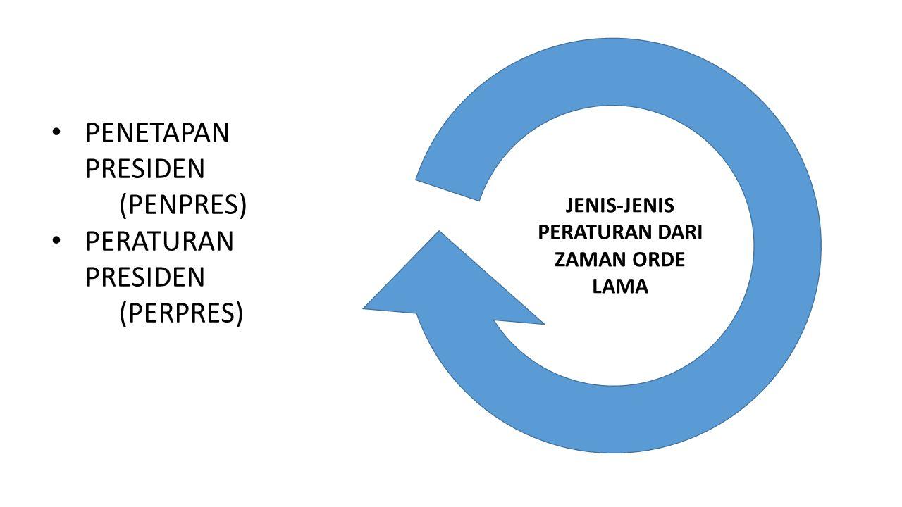 JENIS-JENIS PERATURAN DARI ZAMAN ORDE LAMA