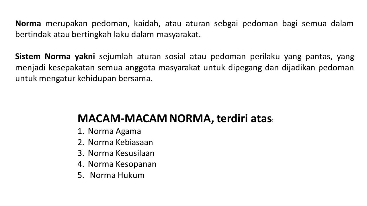 MACAM-MACAM NORMA, terdiri atas:
