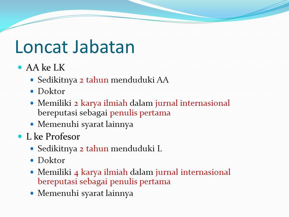 Loncat Jabatan AA ke LK L ke Profesor Sedikitnya 2 tahun menduduki AA