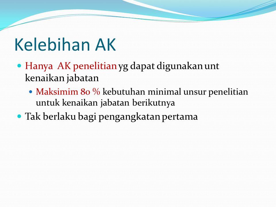 Kelebihan AK Hanya AK penelitian yg dapat digunakan unt kenaikan jabatan.