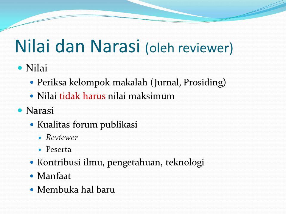 Nilai dan Narasi (oleh reviewer)