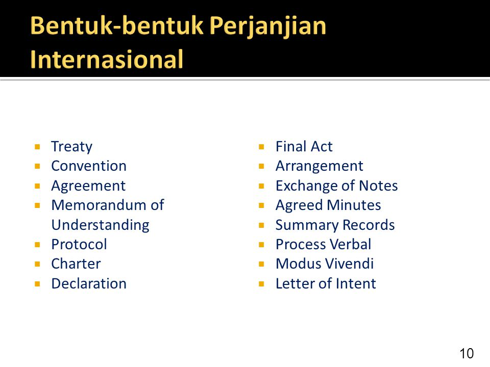 Bentuk-bentuk Perjanjian Internasional
