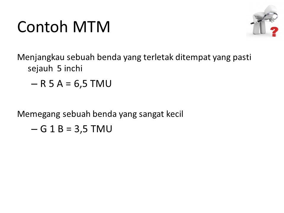 Contoh MTM R 5 A = 6,5 TMU G 1 B = 3,5 TMU