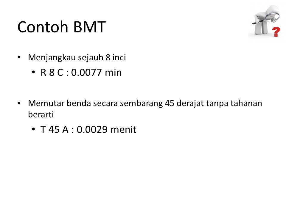 Contoh BMT R 8 C : 0.0077 min T 45 A : 0.0029 menit