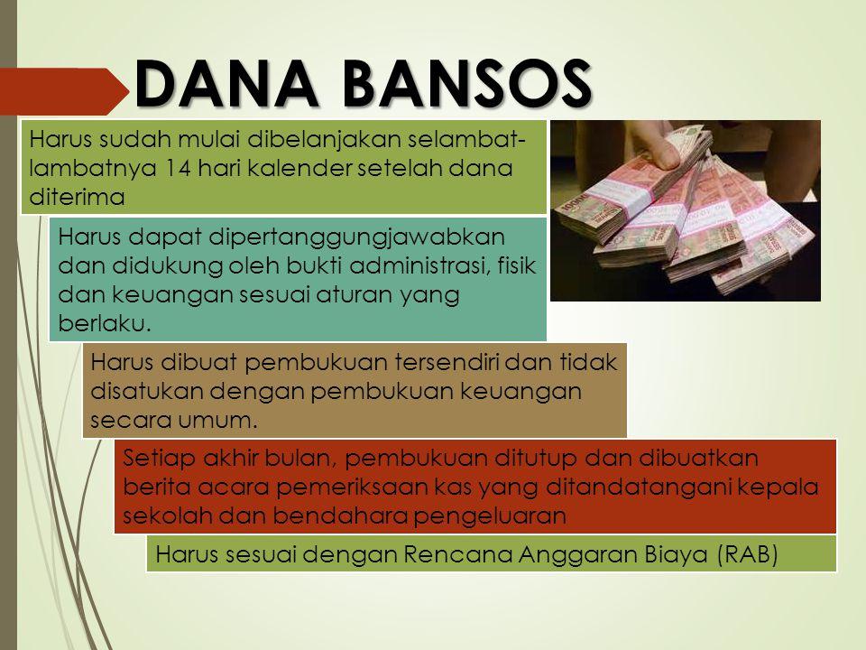 DANA BANSOS Harus sudah mulai dibelanjakan selambat-lambatnya 14 hari kalender setelah dana diterima.