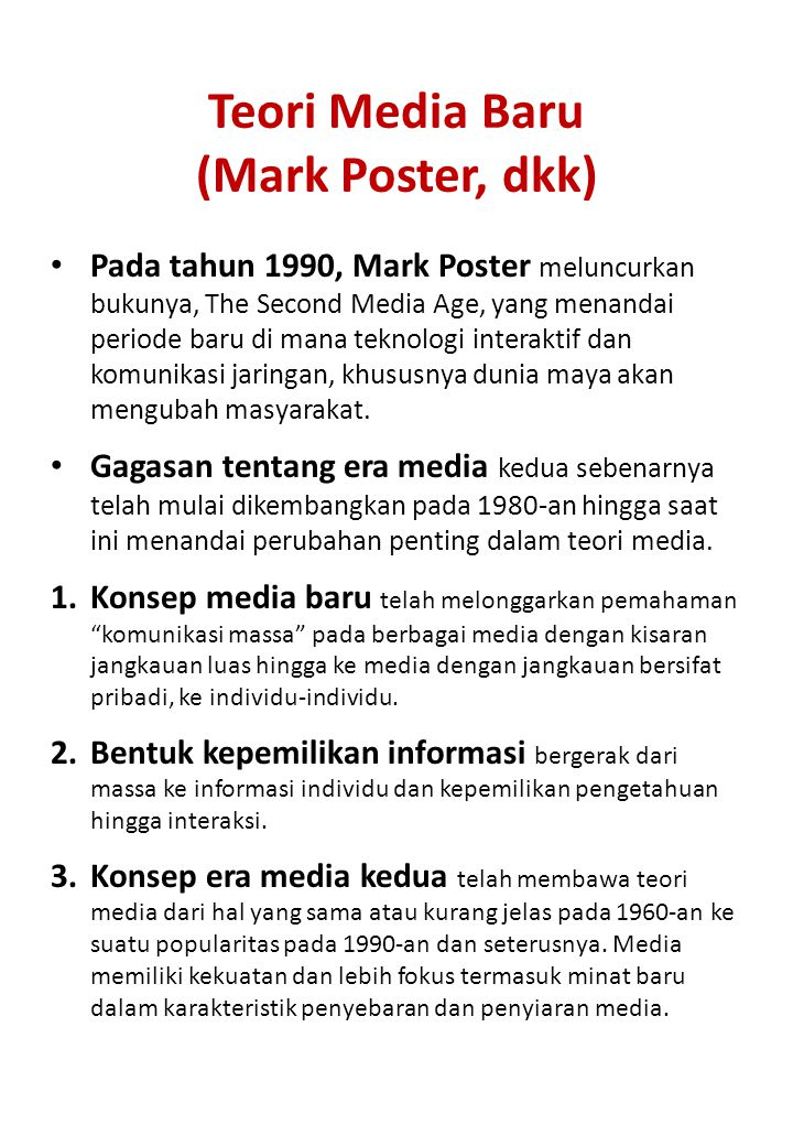 Teori Media Baru (Mark Poster, dkk)