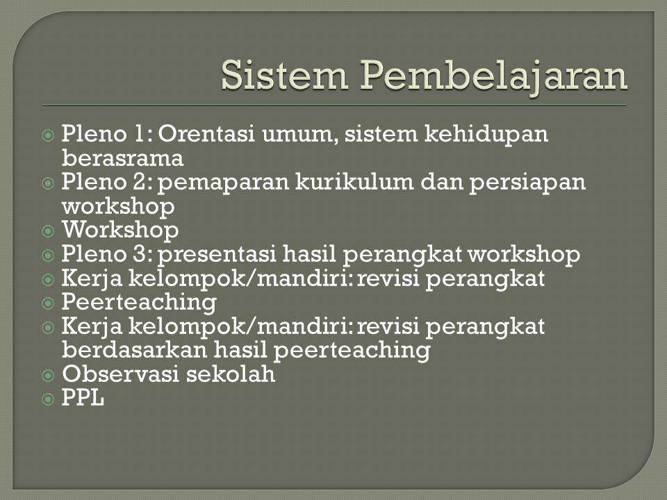 Sistem Pembelajaran Pleno 1: Orentasi umum, sistem kehidupan berasrama