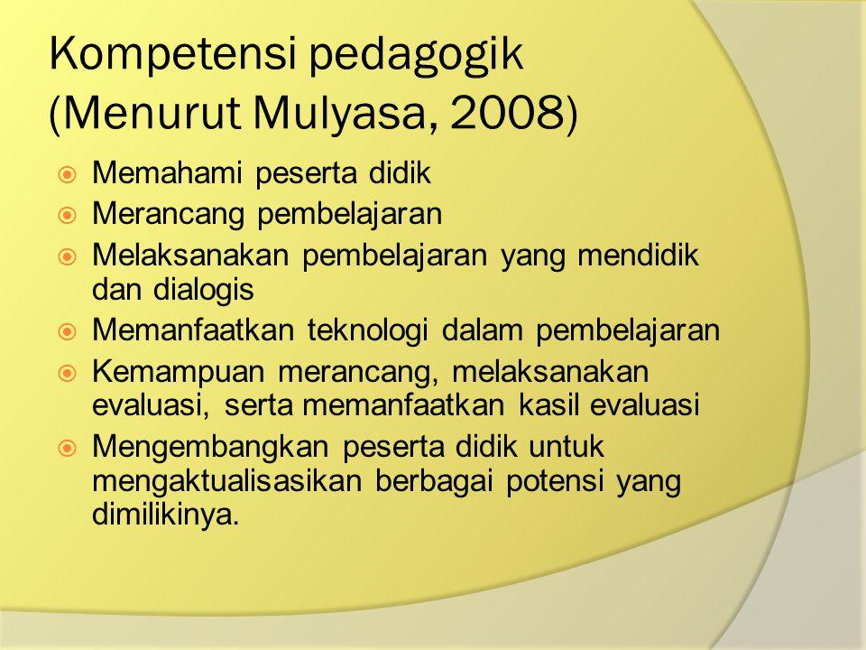 Kompetensi pedagogik (Menurut Mulyasa, 2008)