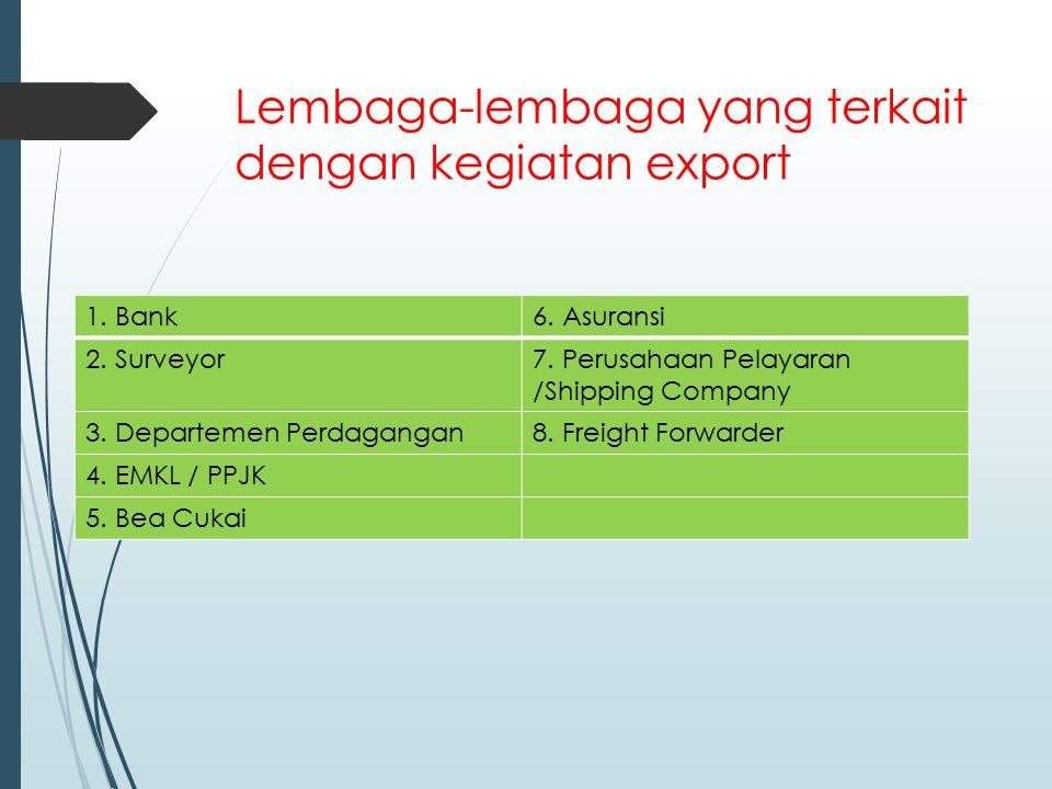 Lembaga-lembaga yang terkait dengan kegiatan export