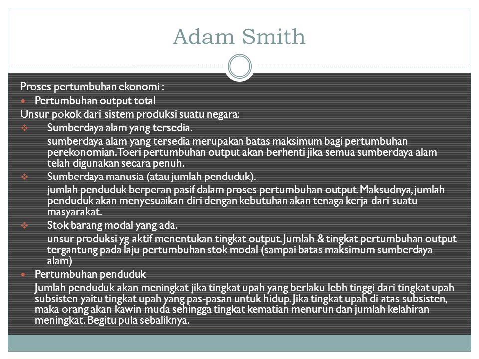 Adam Smith Proses pertumbuhan ekonomi : Pertumbuhan output total